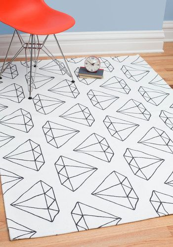 Diamonds Are Floor-ever Rug 4x6. When it comes to satisfying your timeless tastes for home decor, all thats needed to please you is this diamond-printed area rug! #white #modcloth