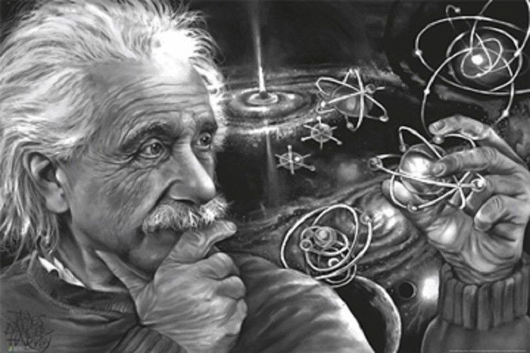 24x36 EINSTEIN QUANTUM THEORY POSTER by James Danger Harvey
