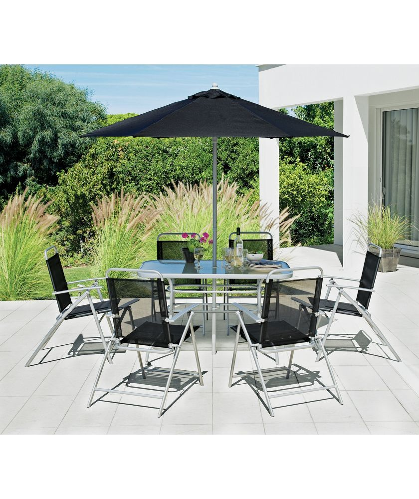 Buy Argos Home Pacific 6 Seater Metal Patio Set Black