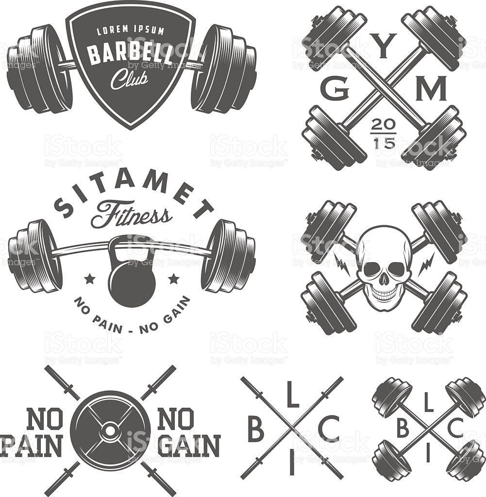 Set Of Vintage Gym Emblems , Labels And Design Elements