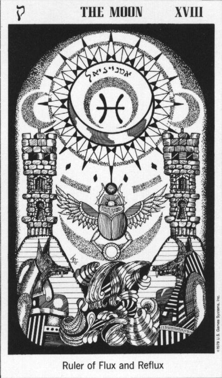 b674eeb69586e9 The Moon (Pisces) The Hermetic Tarot   Tarot Moons   Tarot, Hermetic ...