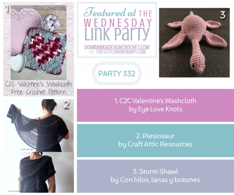 The Wednesday Link Party 332 featuring Crochet C2C Valentine's Washcloth - #C2C #Crochet #Featuring #link #party #Valentines #Washcloth #Wednesday