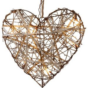 Pre-Lit Rattan Heart with Glitter Hanging Decoration ...