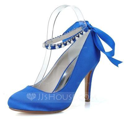 Frauen Satin Stöckel Absatz Geschlossene Zehe Absatzschuhe mit Des Bowknot Nachahmungen von Perlen (047057096)