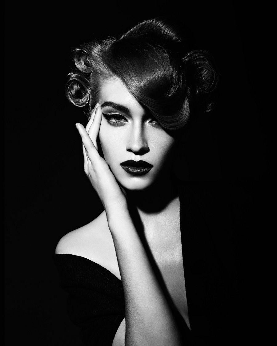 Fashion pose fashion model editorial black and white