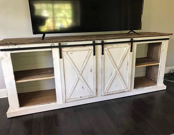 Sliding Barn Door Distressed Farmhouse Media Console TV