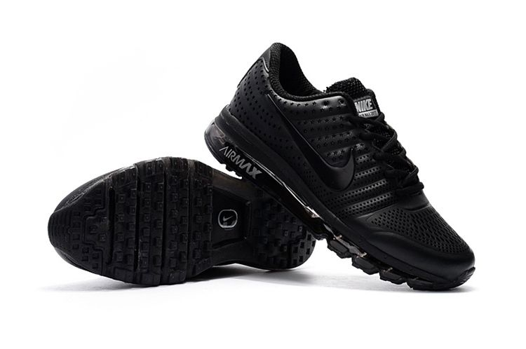 best cheap ab47a 70711 cheap Nike Air Max 2017 Cool Leather Men Shoes All Black
