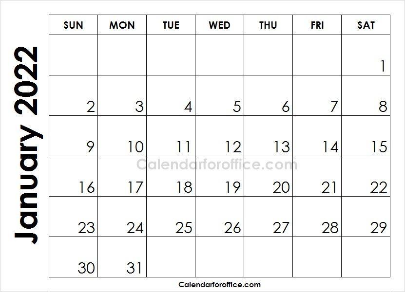 Month Of January Calendar 2022 To Print Blank Calendar Template
