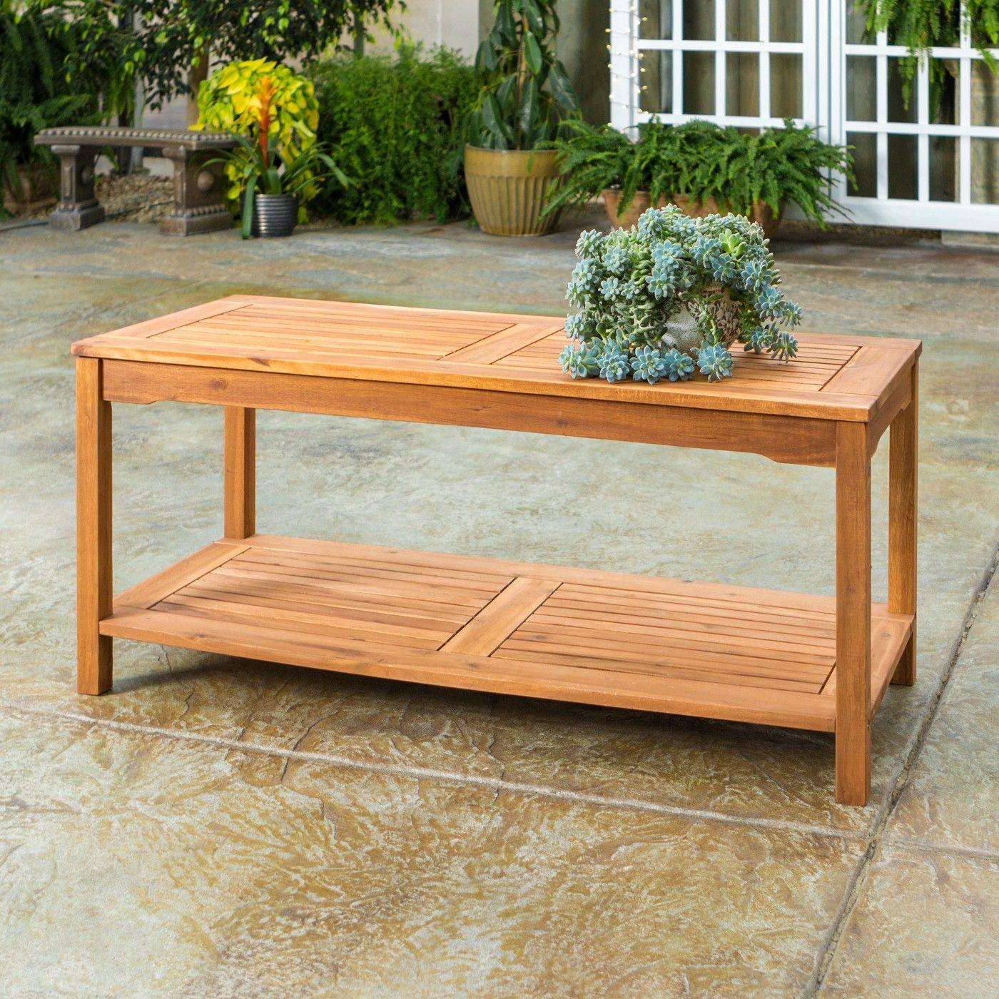 Acacia wood patio coffee table saracina home image 3