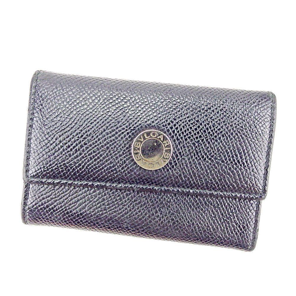 fef0e4adbe68 Bvlgari Key holder Key case Black Silver Woman unisex Authentic Used S823