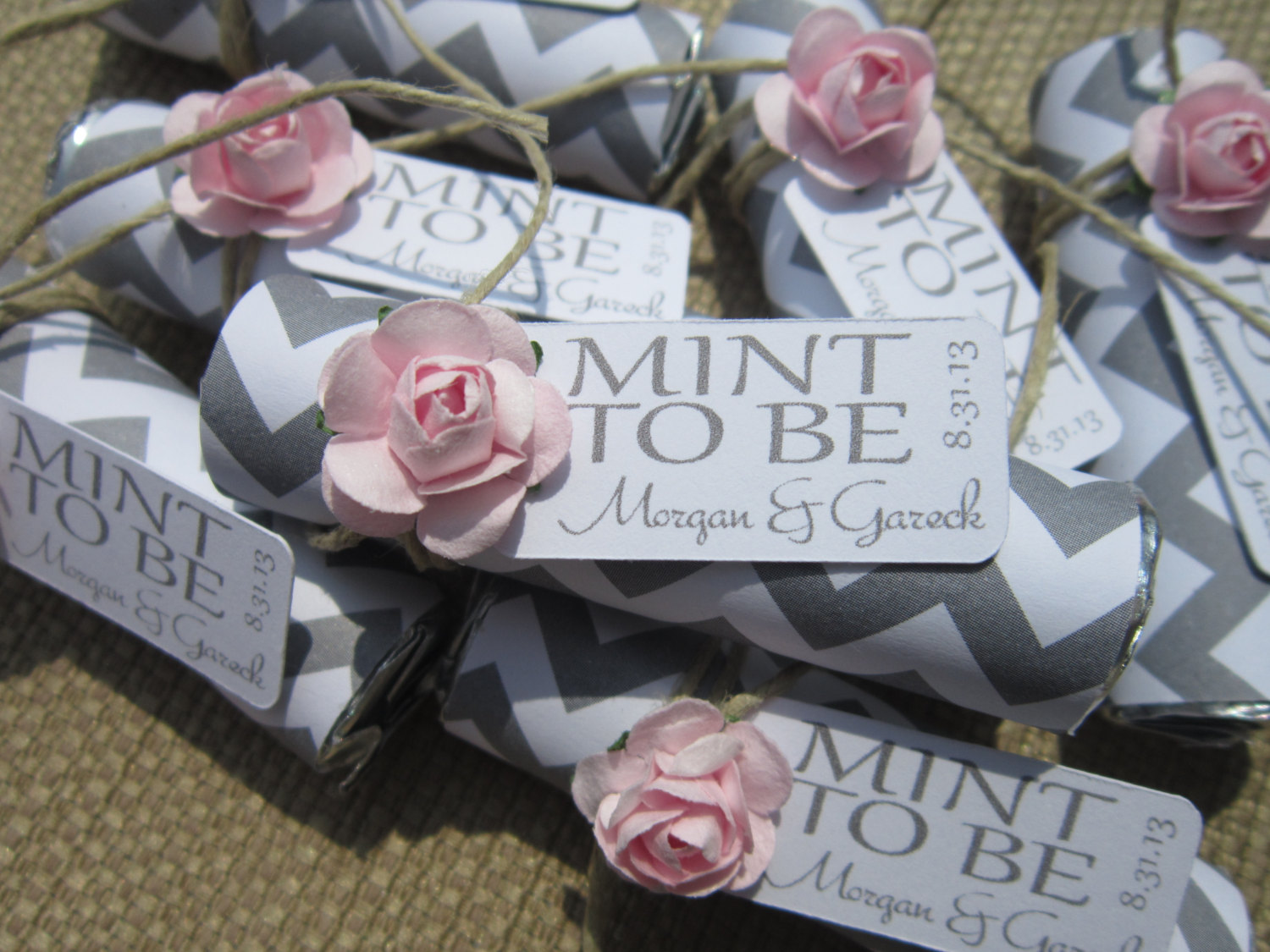 Mint Wedding Favors Set Of 24 Rolls To Be With Personalized Tag Grey Chevron Purple Pink