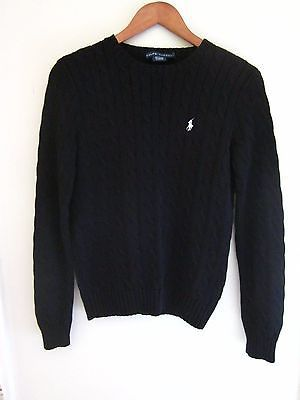 1486177bd0 Ralph Lauren Black Cable Knit Sweater Polo Logo Womens Size Medium ...