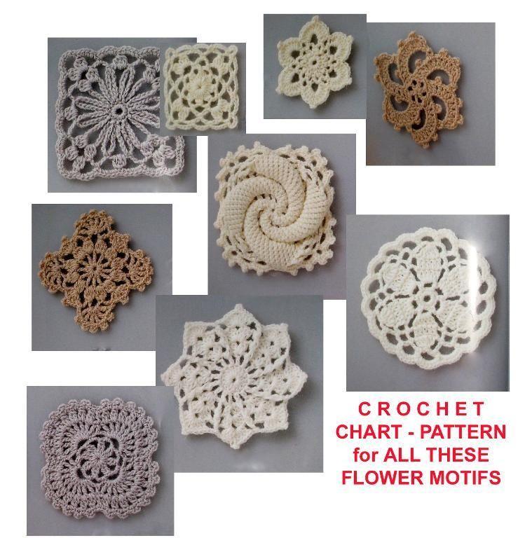 Flower motifs Crochet patterns just USD1 Crochet and Flower