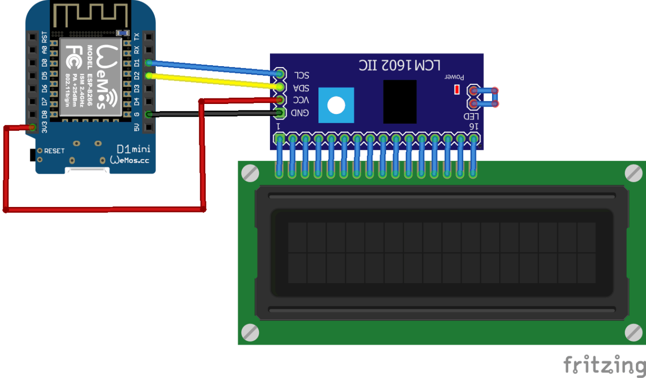 Wemos Mini and I2C LCD example - esp8266 learning   Raspberry Pi