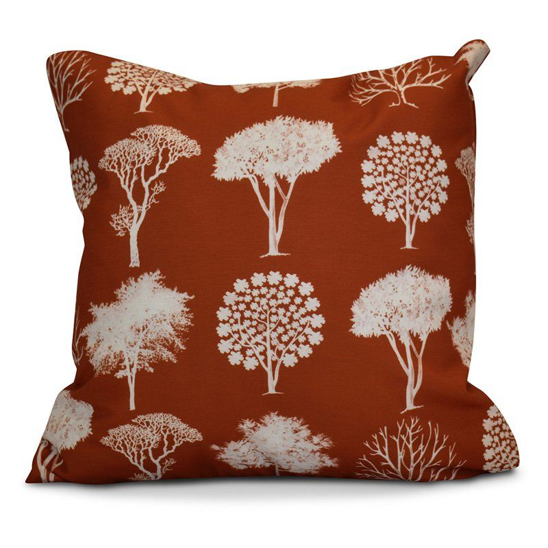 E by Design Flipping Fall Field Of Trees Print Outdoor Pillow Rust / White - O5PFN741OR11-20