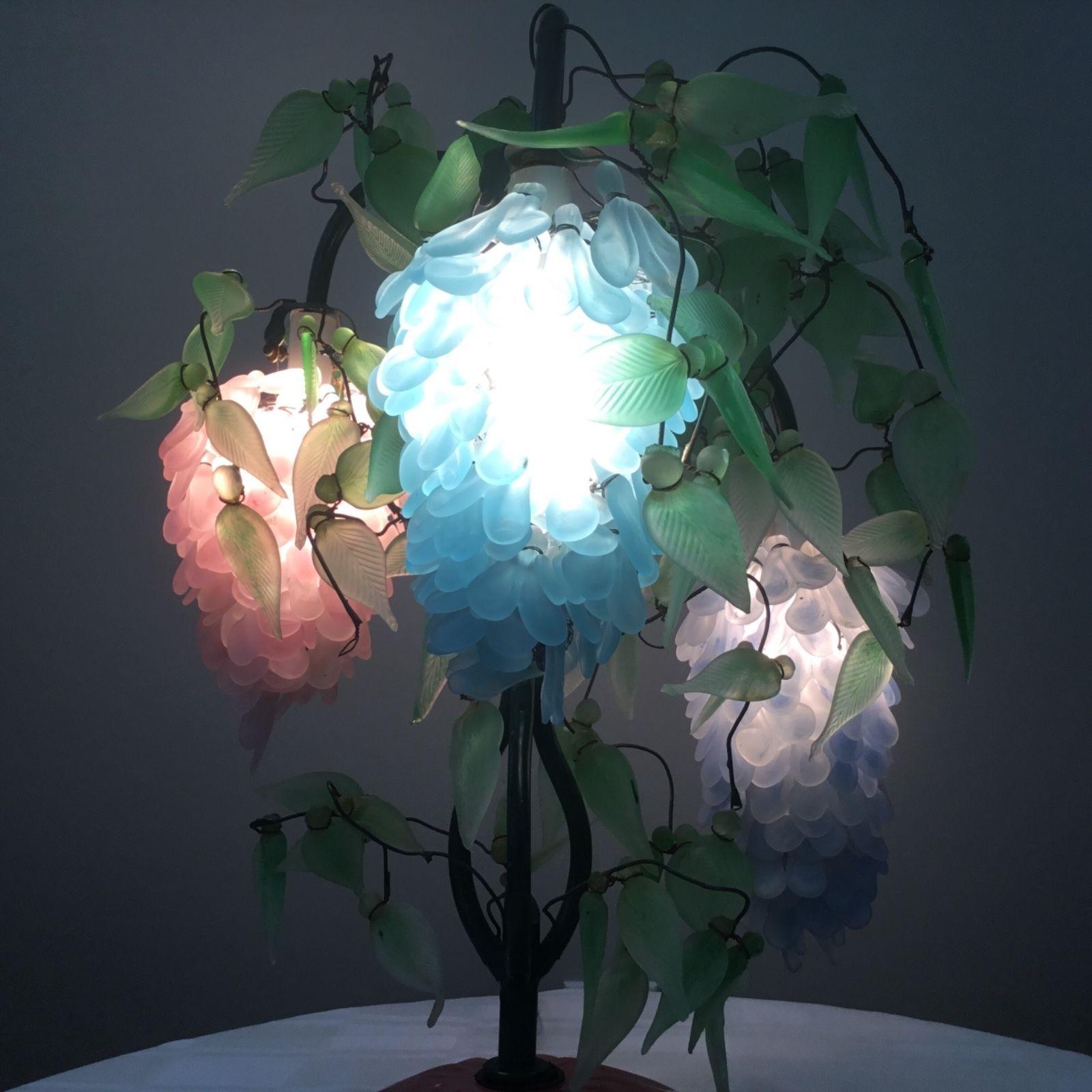 Murano Wisteria Glass Beaded Flower Shade Chandelier Lamp Like Grape Cluster Lamp Chandelier Lamp Wisteria Design