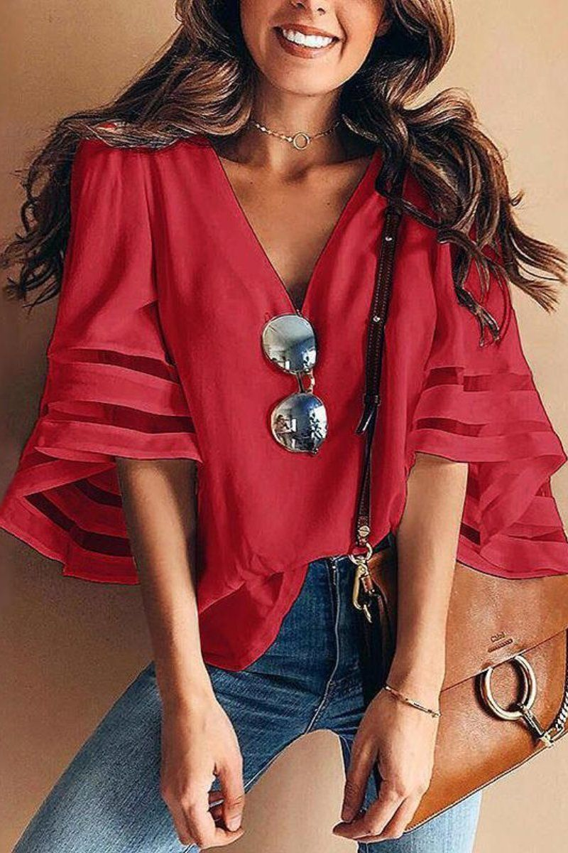 e1d35791f3a75 Mesh Panel Sleeve Loose Fit Top in 2019