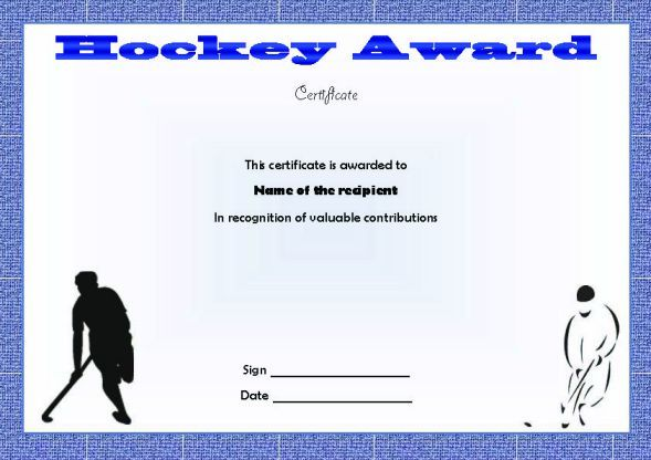 Hockey Award Certificate  Hockey Certificate Templates