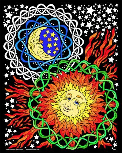 Sun Moon - Large 16x20 Inch Fuzzy Velvet Coloring Poster | Coloring ...