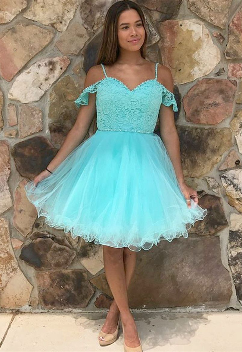 Aline cold shoulder mint tulle homecoming dress with lace