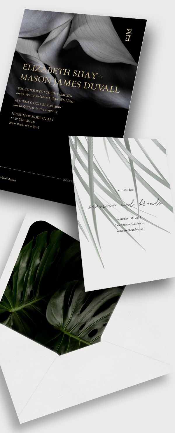 Modern Wedding Invitations + Save the Dates / Tropical + Moody ...