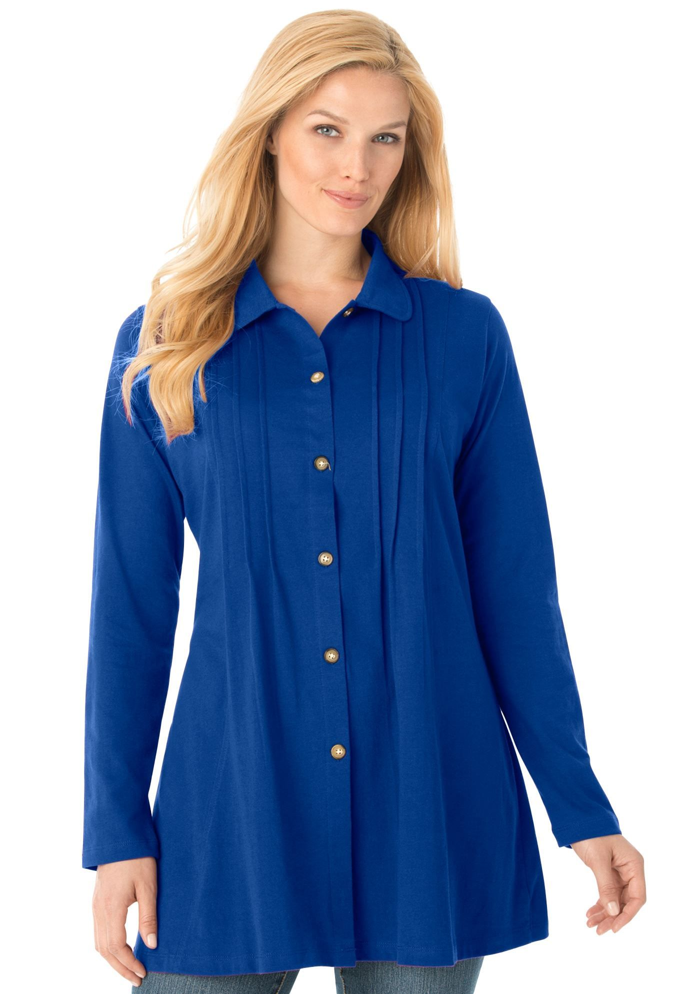 Plus size pleated buttonfront tunic ideas to try pinterest