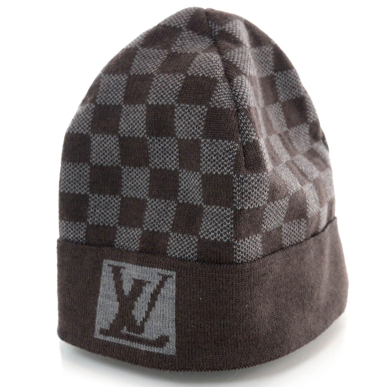 7d0aaeb68fe LOUIS VUITTON Wool Bonnet Petit Damier Beanie Hat