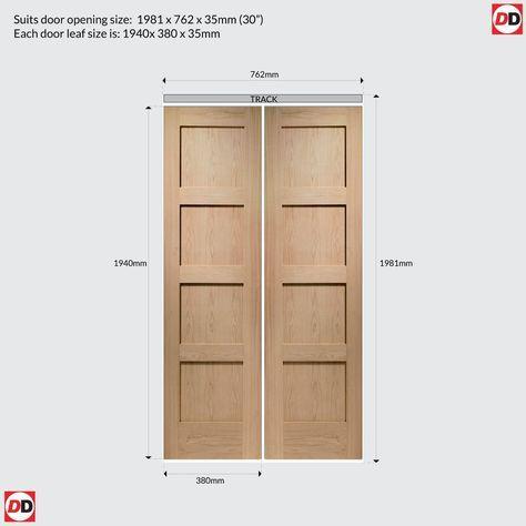 Contemporary 4 Panel Oak Solid Bifold Door Image 7 Oak Bifold Doors Bifold Doors Bifold Closet Doors