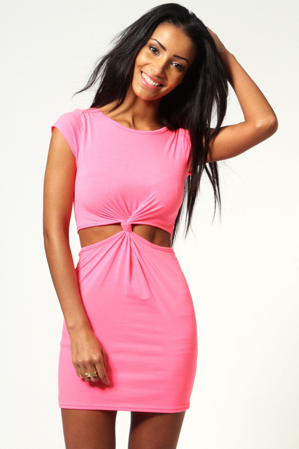 Allie Neon Knot Front Cap Sleeve Bodycon Dress at boohoo.com | My ...