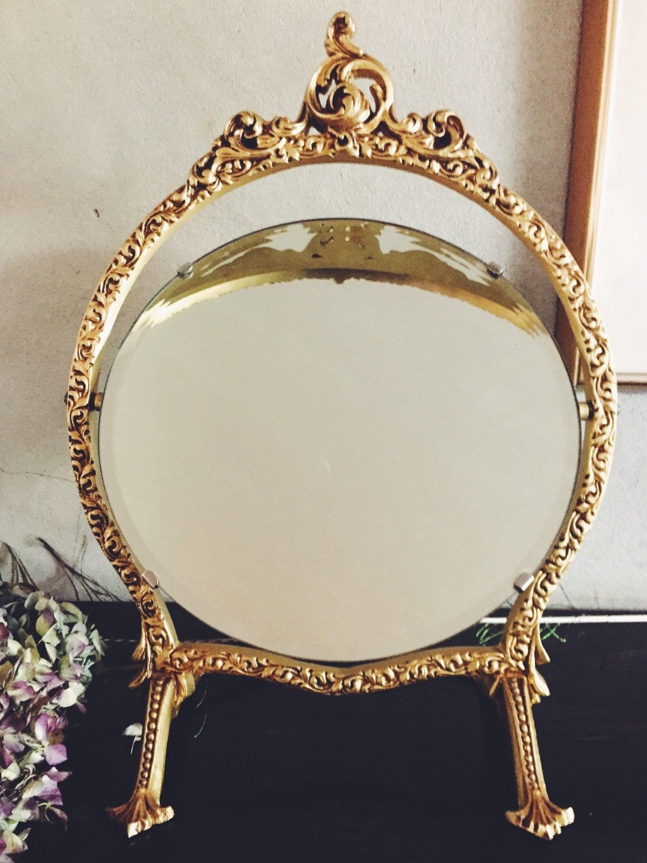 Vintage Tabletop Mirror 1940s Gold Swivel Mirror Vintage Gold Mirror Hollywood Regency Dressing Table Mirr Vintage Gold Mirror Glam Mirror Vintage Tabletop