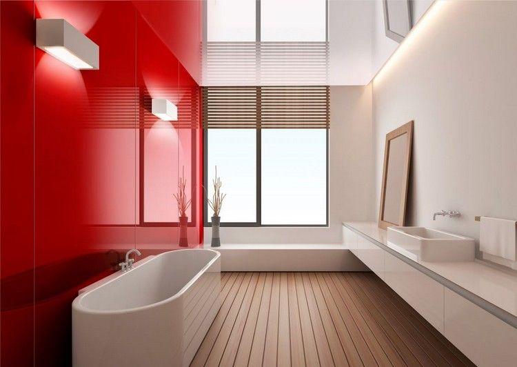 Panneau d coratif mural en verre dans la salle de bains for Panneaux mural decoratif