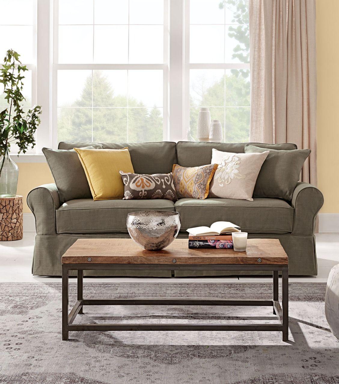 Home Decorators Collection Mayfair Pearl Linen Fabric Sofa: Mayfair Classic Smoke Twill Fabric Sofa
