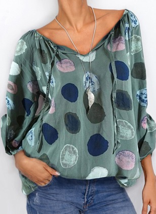 Blouse Of Overhemd.Color Block Casual Lijn V Nek Lange Mouw Overhemd My Favourite