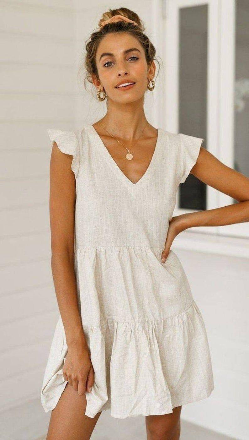 Perfect Smock Dress Smock Linen Dress Linen Ruffle Dress A Line Short Dress Ruffle Short Dress V Neck Linen Dress Cotton Short Linen Dress In 2021 White Dress Summer Bohemian Summer Dresses Fashion [ 1401 x 794 Pixel ]