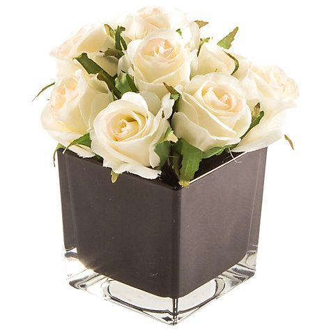 Buy peony cream roses in black cube small online at johnlewis buy peony cream roses in black cube small online at johnlewis mightylinksfo