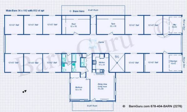 10 Stall Horse Barn Plan   Blue Prints   Buy Horse Barn Plans   Living  Quarters