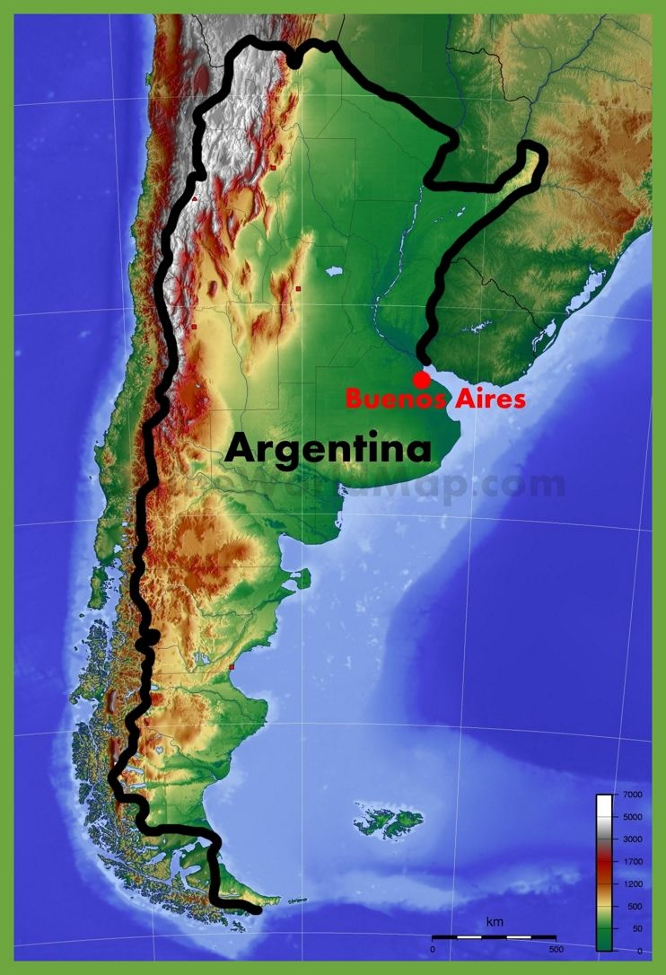 Physical Map Of Argentina Maps Pinterest Argentina - Argentina physical map