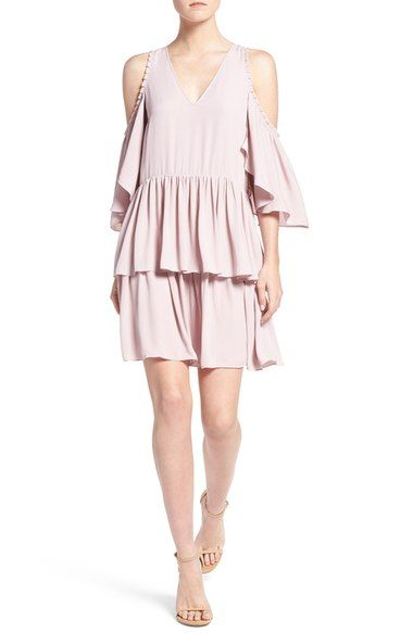 Rebecca Minkoff 'Roberta' Tiered Cold Shoulder Shift Dress available at…