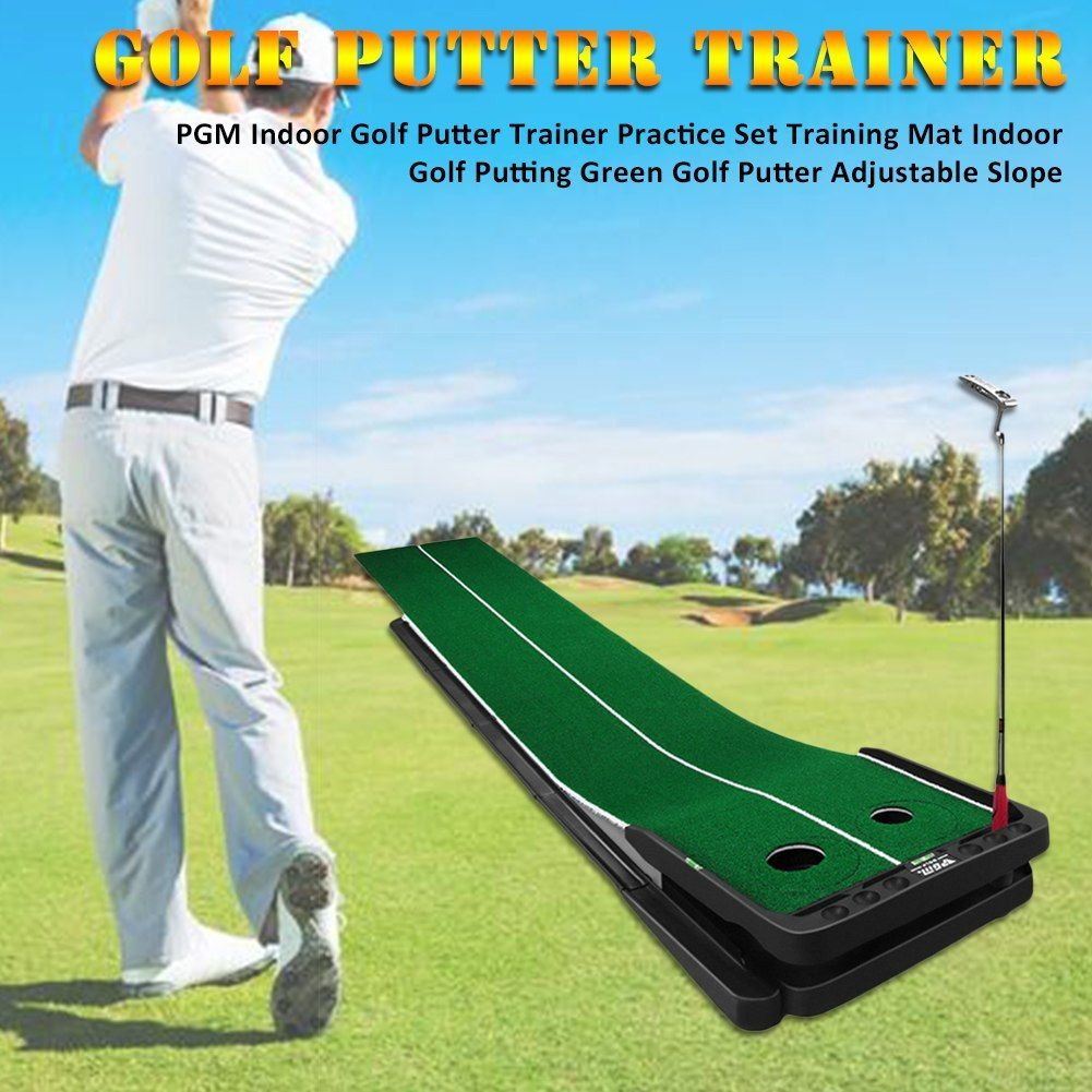 Pgm Indoor Golf Putter Trainer Practice Set Training Mat Indoor Golf Putting Green Golf Putter Adjustable Slope Golf Stick Shop