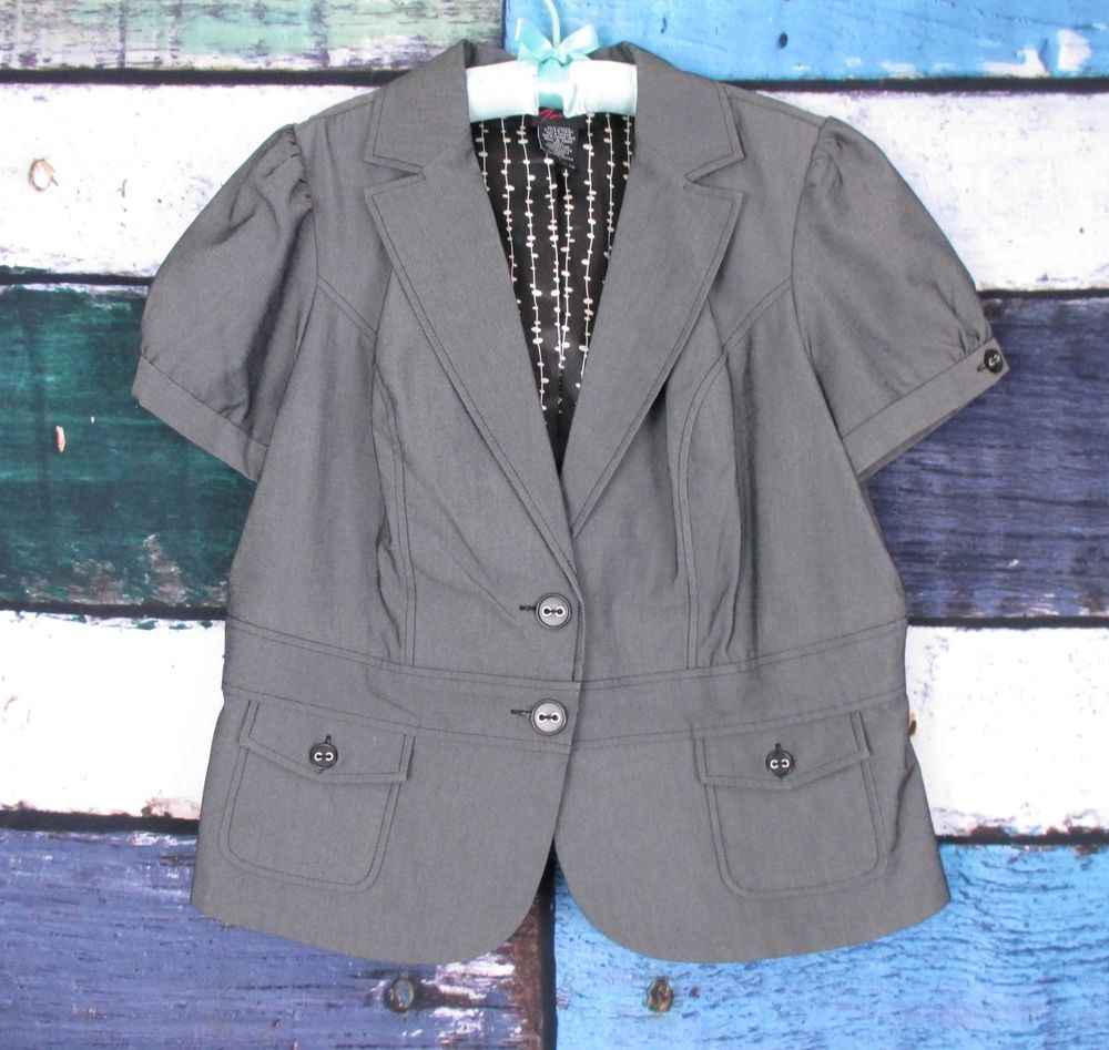 Torrid Gray Cap Sleeve Gray Rockabilly Punk Blazer Jacket SIZE 1 1X #Torrid #Blazer