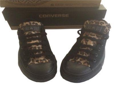 Custom Converse with Leopard print fabric custom by RebelBowz