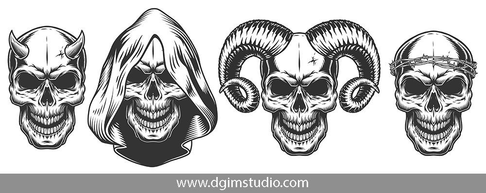 Demons Emblems Collection With Images Unique Poster Vector