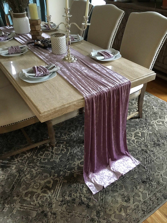 Ice Lavender Velvet Table Runner Wedding Table Runner Table