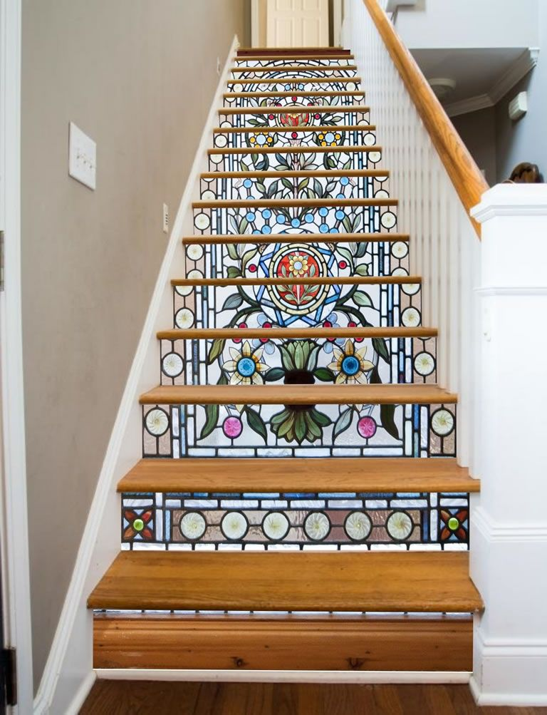Stairway Art Decorates Your Staircases With Beautiful Climbable Murals Of Paradise Glass Stairs Foyer Decorating Stairway Art