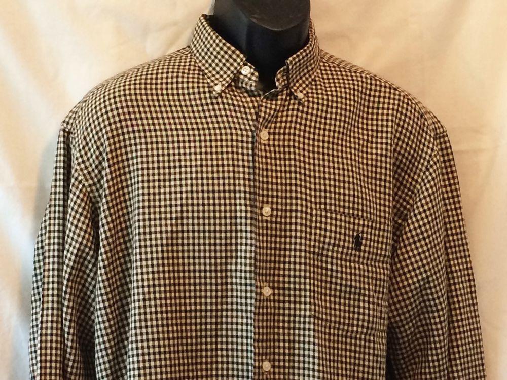 Ralph Lauren Plaid Shirt Black Brown Tan Mens Long Sleeve Size M ...