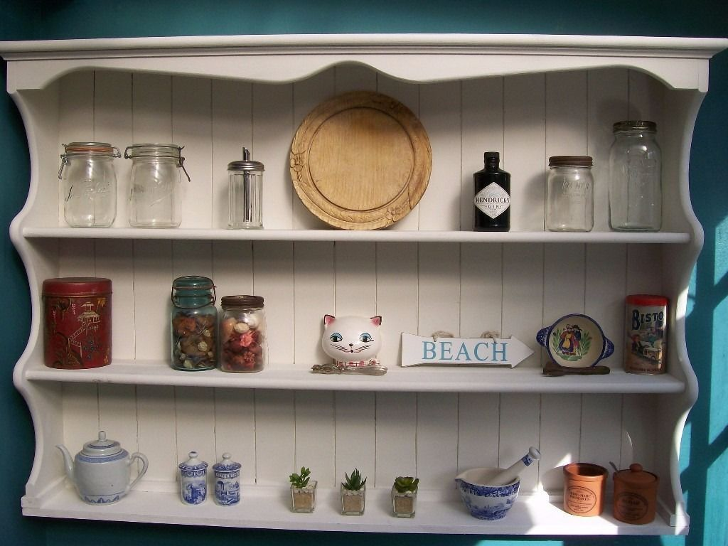 Up Cycled Dresser Top Painted Wall Mounted Shelves Plate Rack