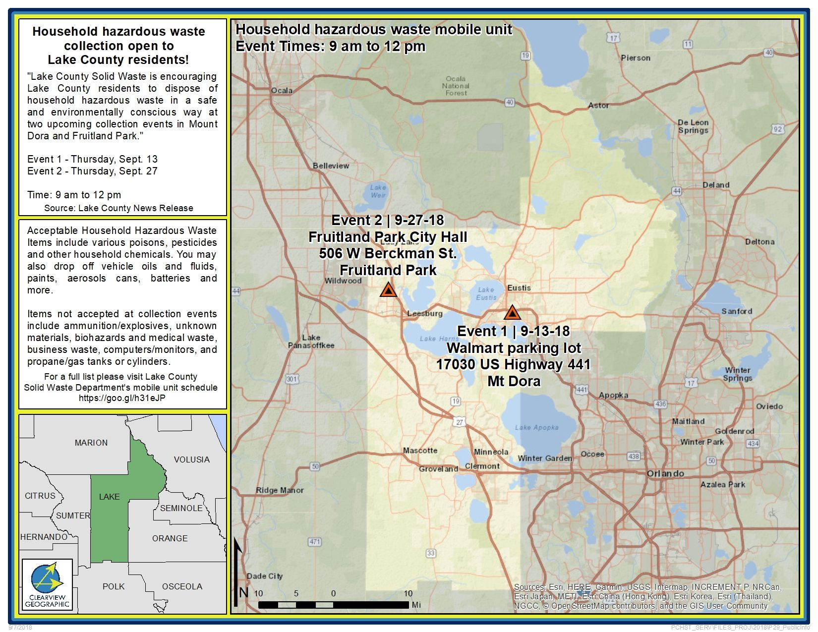 Lake County Florida Map.This Month Lake County S Hazardous Waste Mobile Unit Is Hosting Two