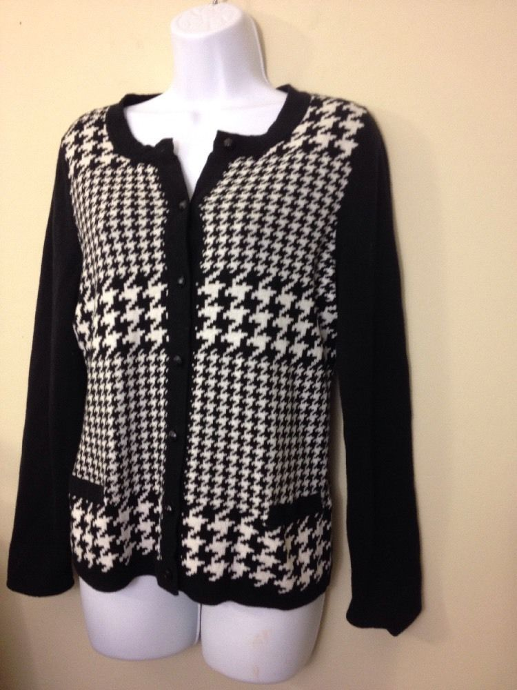 Chico's CHICO HOUNDSTOOTH CARDIGAN MULTI 1 2 EUC SIZE 0 BUST 36 #Chicos #ButtonDownShirt