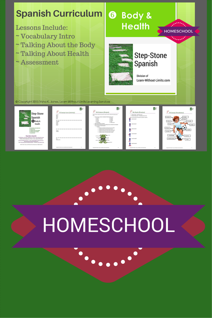 """Lesson plans for upper elementary & middle Spanish classrooms. """"Step-Stone 6: Health & Body"""": - 28 pages, 3 Lessons, 5 classes: 1: Body Vocabulary 2: ¿Cuántos? (How Many?) 3: Talking About Health - Objectives - Alignment with National Standards - """"El Cuerpo y La Salud"""" PowerPoint - 1 Vocabulary Handout (El Cuerpo) - 6 Activities (Simón Dice Game, El Cuerpo Loco Activity, Making Words Plural Practice, ¿Cuántos? Practice, Me Duele Practice, Me Duele Skit) - 1 Project (Mi Criatura) - Assessment"""