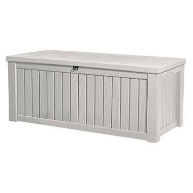 Rockwood 150 Gallon Outdoor Storage Deck Box White With Images Deck Box Storage Outdoor Deck Storage Box